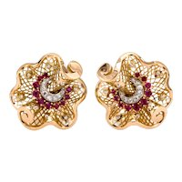 Vintage Estate Ruby Diamond Earrings 18K Yellow Gold 1.50 CTW Ladies Clip-On