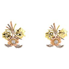 Vintage Floral 18K 3 Tone Color Gold Stud Earrings 0.35 CTW Round Diamonds