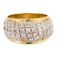 Estate Diamond Dome Ring 18K Yellow Gold 0.65 TW Ladies Natural Diamond Size 6.5