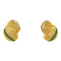 Estate Emerald Diamond Shell Earrings 18K Yellow Gold 0.80 CTW Ladies Clip-On