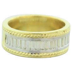 Vintage Baguette Cut Diamond Wide Band Ring 18K Two-Tone Gold 0.75 CTW Size 6
