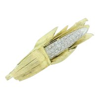Estate Diamond Corn Stalk Ladies Brooch 18K Two-Tone Gold 1.25 CTW Diamonds