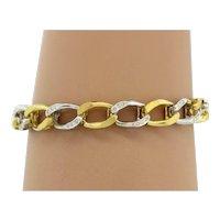 "Estate Cuban Wide Link Diamond Bracelet 18K Two-Tone Gold 0.50 CTW Diamonds 7.5"""