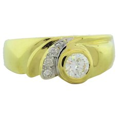 Estate Diamond 18K Yellow Gold 0.39 CTW Diamonds Ladies Cocktail Ring Size 7.25
