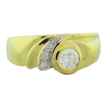 Estate Diamond 18K Yellow Gold 0.39 CTW Diamonds Ladies Cocktail Ring Size 7.25