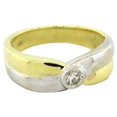 Estate Diamond Ladies Ring 18K Two Tone Gold 0.20 CTW Round Diamonds Size 8