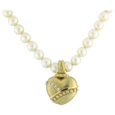 Estate Pearl Necklace With 0.25 CTW Diamond Heart Pendant 14K Yellow Gold 17.5""