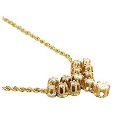 "Estate Diamond Necklace 14K Yellow Gold Rope Chain 1.55 CTW Diamonds Ladies 17"""