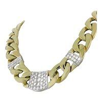 "Estate Diamond Cuban Link Chain Necklace 14K 2-Tone Gold 6.00 CTW Diamonds 19"""
