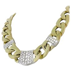 Estate Diamond Cuban Link Chain Necklace 14K 2-Tone Gold 6.00 CTW Diamonds 19""