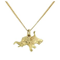 "Estate Elephant Pendant Charm 14K Yellow Gold 0.5"" Unisex"