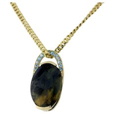 Estate Fancy Gemstone Aquamarine Accent Pendant 14K Yellow Gold 24 x 18 mm Oval