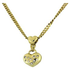 Estate Diamond Puffed Heart Pendant 14K Yellow Gold 0.36 CTW Diamonds Heart Bale