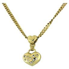 Estate Diamond Puffed Heart Pendant 14K Yellow Gold 0.36 CTW Diamonds Heart Bale