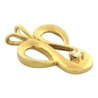 "Vintage Diamond Ladies Pendant 14K Yellow Gold 0.05 CTW Round Diamond 3/4"""