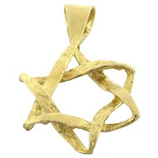 """Religious Star of David Pendant Charm 14K Yellow Gold Brushed Gold 1"""""""