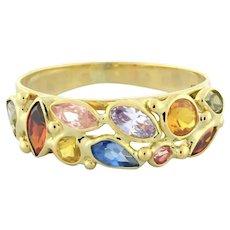 Vintage Multi Colored Tourmaline Gemstone Ladies Ring 18K Yellow Gold Size 7.5