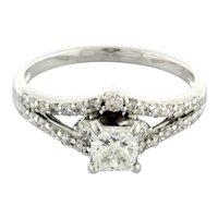 Square Radiant Cut Diamond Accent Engagement Ring IGI 14K White Gold 1.21 TW 7.5