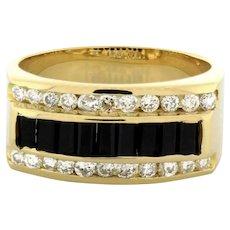 Men's Onyx Diamond Ring 14K Yellow Gold 0.55 CTW Channel Set Diamonds Size 9.75