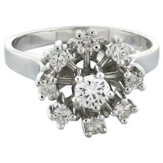Estate Vintage Diamond Ladies Ring 18K White Gold 0.60 CTW Round Diamonds Size 7