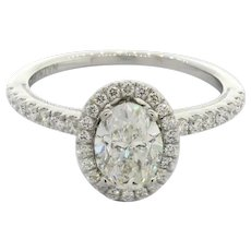 GIA Natalie K 1.66 TW Oval Halo Diamond Engagement Ring 14K White Gold D SI1