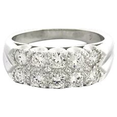 Estate 2-Row Diamond Band Ring 14K White Gold 1.00 CTW Round Diamonds Size 6.75