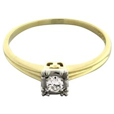 Vintage Solitaire Diamond Engagement Ring 14K Yellow Gold & Palladium 0.12 CTW 7