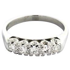 Estate 14K White Gold Diamond Wedding Anniversary Ring Band 5-Stone 0.40 CTW 6