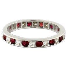 Estate Ruby Diamond Full Eternity Band Ring 14K White Gold 1.75 CTW Size 4.75