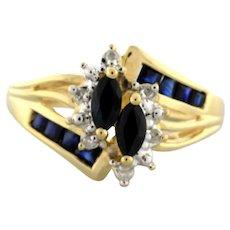 Estate Floral Sapphire Diamond Ladies Cocktail Ring 10K Yellow Gold 0.76 TW SZ 6