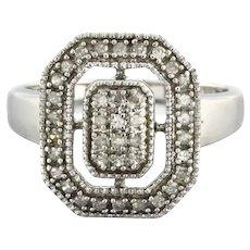 Estate Diamond Cluster Ring 10K White Gold 0.50 CTW Round Diamonds Ladies 7