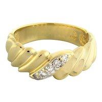 Estate 14K Yellow Gold Diamond Crossover Swirl Band Ring 0.15 CTW Unisex SZ 8.75