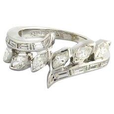 Estate Platinum Marquise Baguette Diamond Ring 0.75 CTW Diamonds Ladies Size 4.5