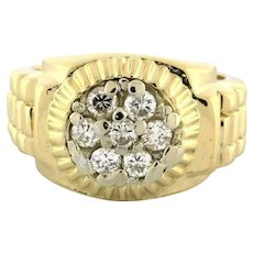 Men's Rolex Link Design Pinky Ring 14K Yellow Gold 0.50 CTW Diamonds Size 4.5