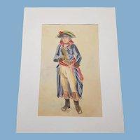 19th century french Watercolor Porttrait of Napoleon Bonaparte full length