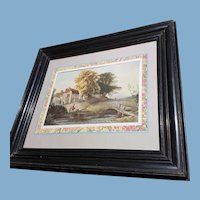 French 19th century Landscape watercolour in original frame