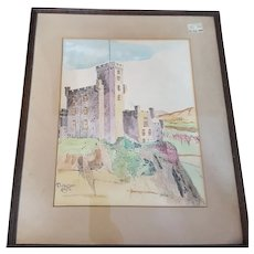 Framed end of 19th century watercolour of Dungeon Castle