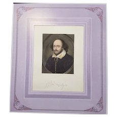 Engraving Portrait of William Shakespeare by Sam Cousins 1849
