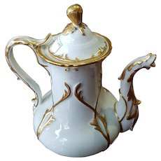 Extra large french 1840porcelain coffee pot