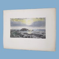 view of  Indian Rock Narragansett Bay Rhode Island    engraving  1872 United Sates