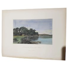 view of  Mouth of the Moodna creek on the Hudson  New York Appleton & co engraving hand colored 1872 United States