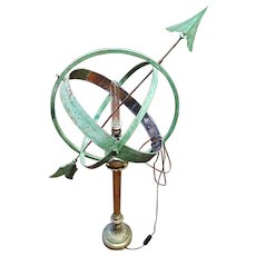 Rare and Important French Lamp art Nouveau Armillary Sphere