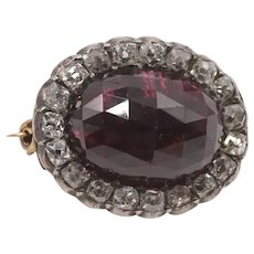 An Early 19th Century Large Garnet, 1.6ct Old Cut Diamond Brooch
