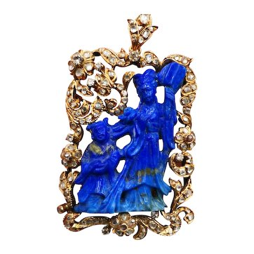 A large late 19th century lapis, rose cut diamond and 14K gold pendant/brooch