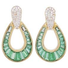 18 Karat Gold Calibre Cut Emerald Baguette Diamond Dangling Drop Ear-Clips