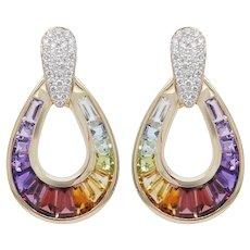 18 Karat Gold Taper Baguette Multi-Color Rainbow Diamond Dangling Drop Earrings