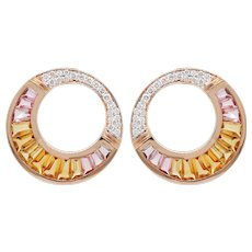 18 Karat Rose Gold Citrine Peach Tourmaline Baguette Diamond Stud Earrings