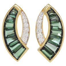 18 Karat Gold Caliber Cut Green Tourmaline Taper Baguette Diamond Stud Earrings