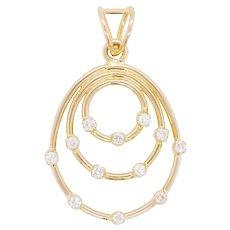 18 Karat Gold Diamond Art Deco Style Pendant Necklace