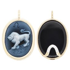 Reversible Leo Carving Cameo Zodiac Diamond 14 Karat Gold Pendant Necklace